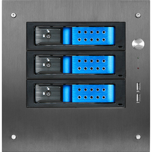 "iStarUSA Compact Stylish 3x 3.5"" Hotswap Trayless mini-ITX Tower (Blue HDD Handles)"