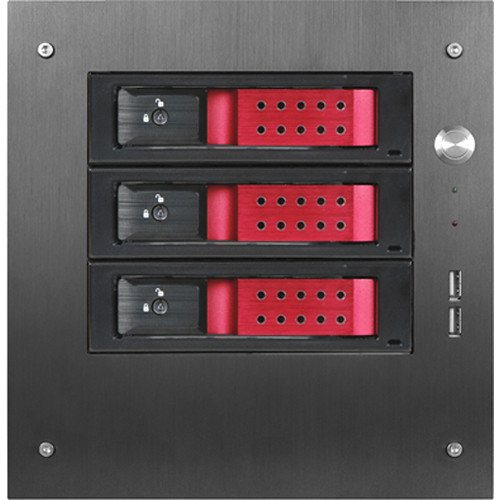 """iStarUSA Compact Stylish 3x 3.5"""" Hotswap Trayless mini-ITX Tower (Red HDD Handles)"""