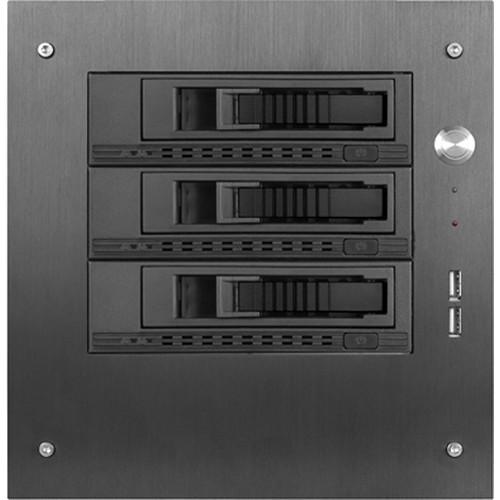 "iStarUSA Compact Stylish 3x 3.5"" Hotswap mini-ITX Tower (Black HDD Handles)"