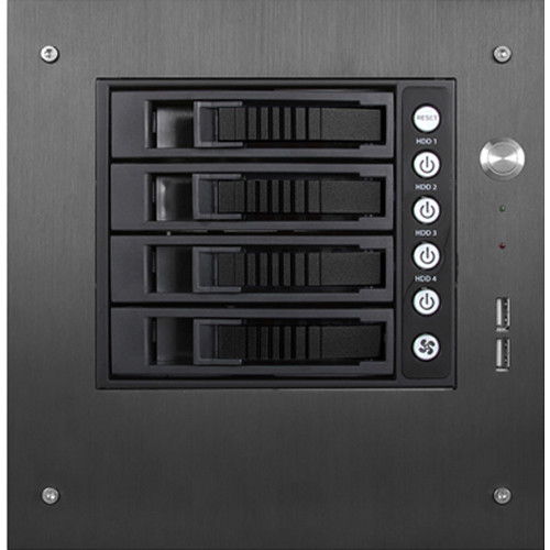 "iStarUSA S-35-B4SA Compact Stylish 4x 3.5"" Hotswap mini-ITX Tower (Black HDD Handles)"