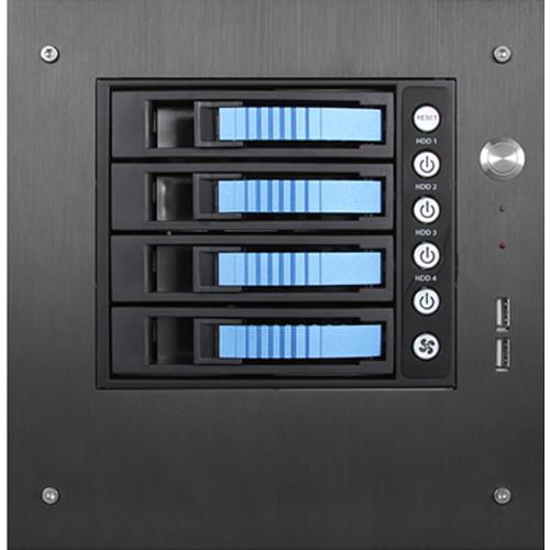 "iStarUSA S-35-B4SA Compact Stylish 4x 3.5"" Hotswap mini-ITX Tower (Blue HDD Handles)"
