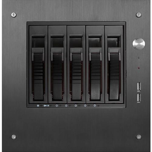 "iStarUSA S-35-B5SA Compact Stylish 5x 3.5"" Hotswap mini-ITX Tower (Black HDD Handles)"