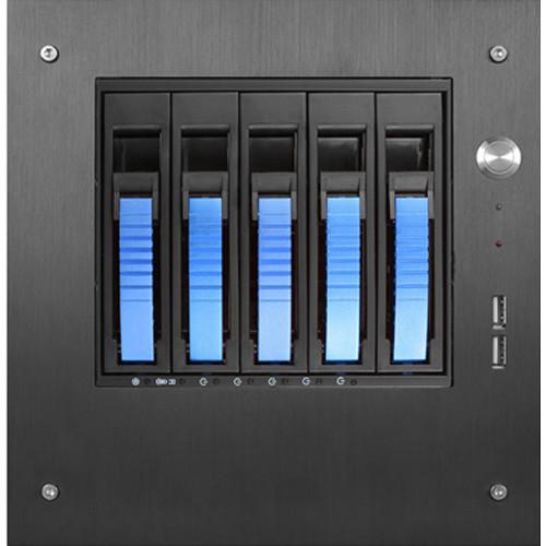 "iStarUSA S-35-B5SA Compact Stylish 5x 3.5"" Hotswap mini-ITX Tower (Blue HDD Handles)"