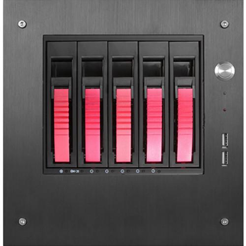 "iStarUSA S-35-B5SA Compact Stylish 5x 3.5"" Hotswap mini-ITX Tower (Red HDD Handles)"