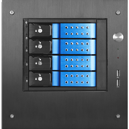 "iStarUSA Compact Stylish 4x 3.5"" Hotswap Trayless mini-ITX Tower (Blue HDD Handles)"