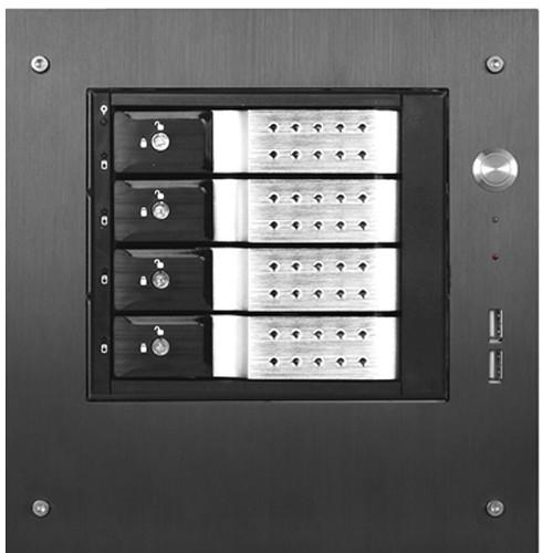 "iStarUSA Compact Stylish 4x 3.5"" Hotswap Trayless mini-ITX Tower (Silver HDD Handles)"