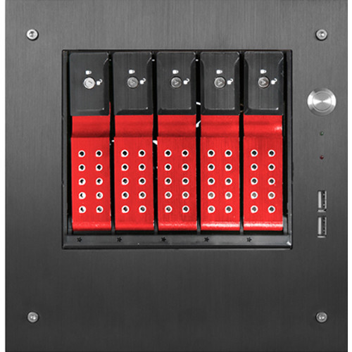"""iStarUSA Compact Stylish 5x 3.5"""" Hotswap Trayless mini-ITX Tower (Red HDD Handles)"""