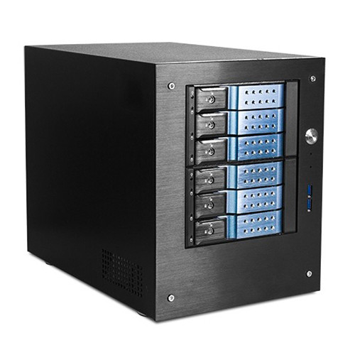 "iStarUSA Compact Stylish 6x 3.5"" Hotswap Trayless mini-ITX Tower (Blue HDD Handles)"