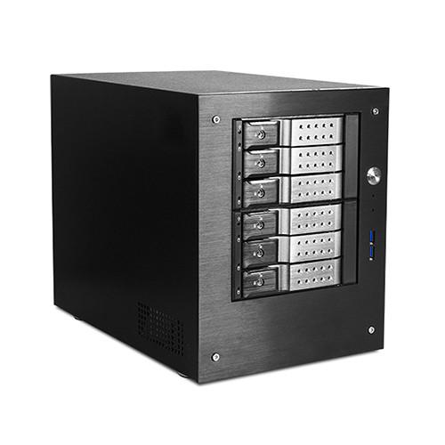 "iStarUSA Compact Stylish 6 x 3.5"" Hotswap Trayless mini-ITX Tower (Silver HDD Handles)"