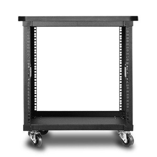 "iStarUSA 17.7"" Deep 10 RU Simple Server Rack with Wood Top (Black)"