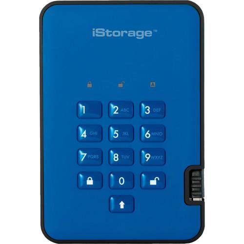Istorage 500GB diskAshur2 USB 3.1 Encrypted Portable HDD (Ocean Blue)