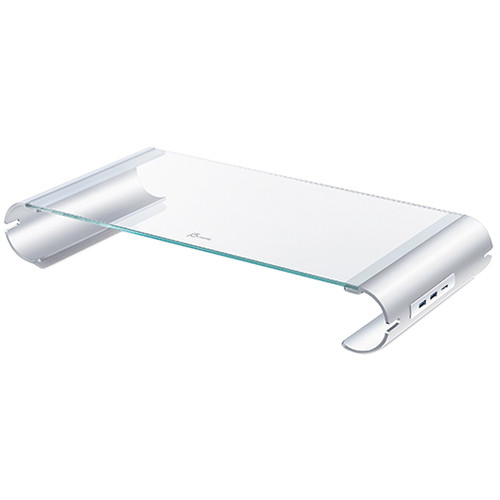 j5create Aluminum & Tempered Glass Monitor Stand with USB Hub