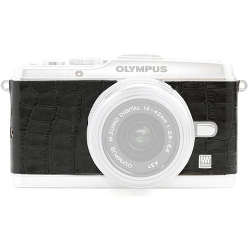 Japan Hobby Tool Camera Leather Decoration Sticker for Olympus PEN E-P3 Mirrorless Camera (Crocodile Black)