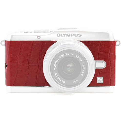 Japan Hobby Tool Camera Leather Decoration Sticker for Olympus PEN E-P3 Mirrorless Camera (Crocodile Red)