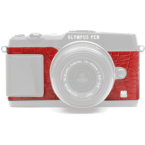 Japan Hobby Tool Camera Leather Decoration Sticker for Olympus PEN E-P5 Mirrorless Camera (Crocodile Red)