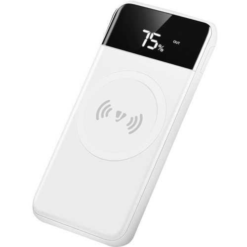 JarvMobile 10,000mAh Wireless Charging Power Bank with LED Display (White)