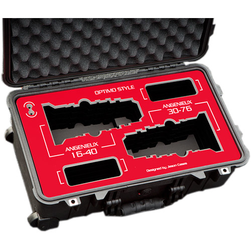 Jason Cases Protective Case for Angenieux Optimo Style 16-40mm & 30-76mm Lenses (Red Overlay)