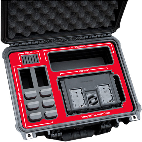 """Jason Cases Hard Travel Case for Blackmagic Video Assist 4K 7"""" Recording Monitor (Red Overlay)"""