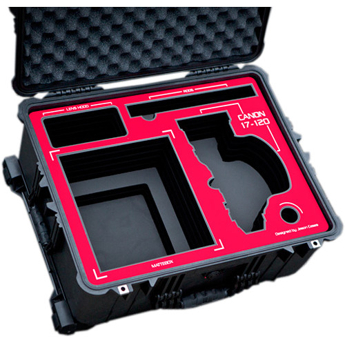 Jason Cases Wheeled Case with Custom Foam for Canon 17-120mm Lens & Matte Box (Red Overlay)