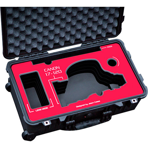 Jason Cases Wheeled Case with Custom Foam for Canon 17-120mm Lens (Red Overlay)
