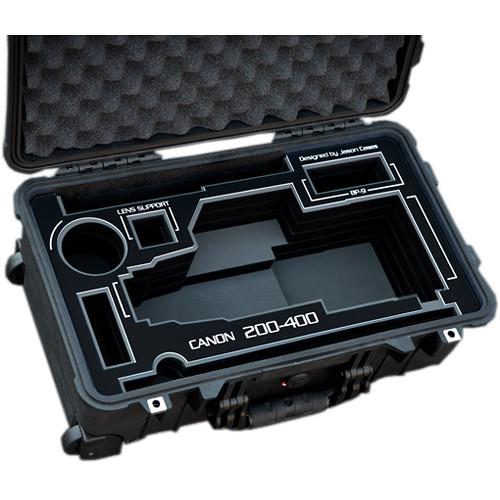 Jason Cases Hard Case with Custom Foam for Canon 200-400mm Lens (Black Overlay)