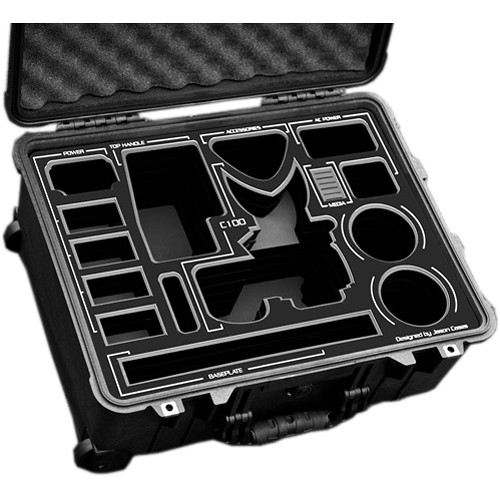 Jason Cases Wheeled Case with Custom Foam for Canon EOS C100 Mark II (Black Overlay)