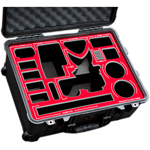 Jason Cases Wheeled Case with Custom Foam for Canon EOS C100 Mark II (Red Overlay)