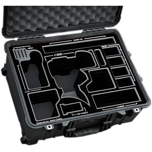 Jason Cases Hard Travel Case for Canon C300 Mark II Camera (Black Overlay)