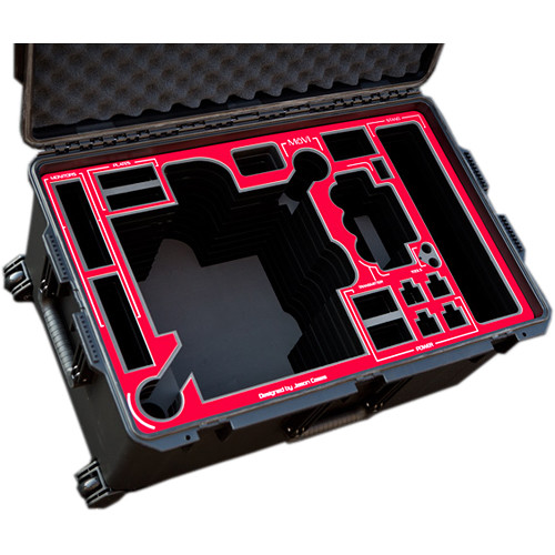 Jason Cases Protective Pelican Case for Freefly MoVI M10 Gimbal Stabilizer with Cage (Red Overlay)