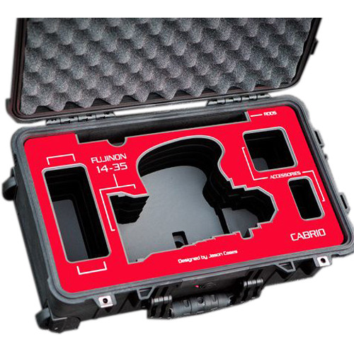 Jason Cases Protective Case for Fujinon 14-35mm T2.9 Cabrio Lens (Red Overlay)