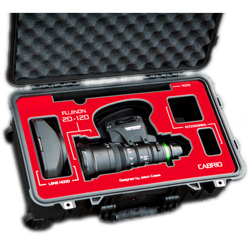 Jason Cases Protective Case for Fujinon 20-120mm T3.5 Cabrio Lens (Red Overlay)