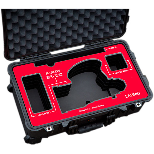Jason Cases Protective Case for Fujinon 85-300mm T2.9 Cabrio Lens (Red Overlay)
