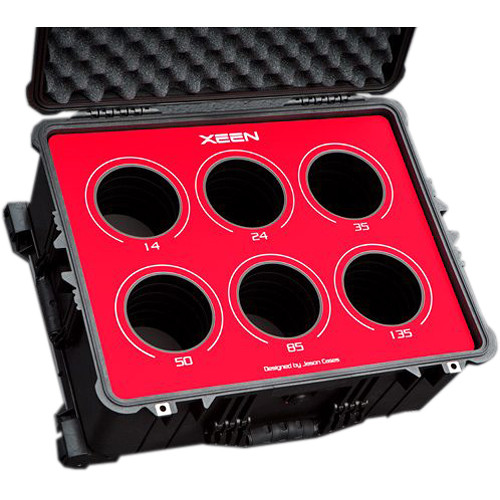 Jason Cases Protective Case for Rokinon Xeen 6-Lens Bundle (Red Overlay)