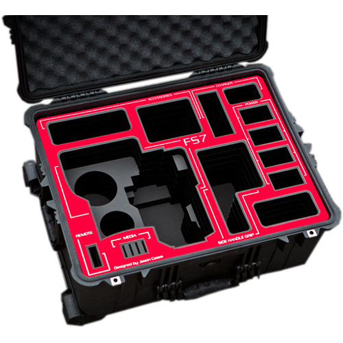 Jason Cases Hard Rolling Case for Sony FS7 Camera (Red Overlay)