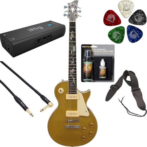 Jay Turser JT-220D Serpent 200 Series Electric Guitar & Interface Starter Kit (P-90, Gold Top)