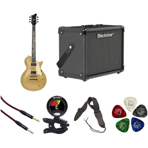 Jay Turser JT-220D Serpent 200 Series Electric Guitar & Amp Starter Kit (Humbucker, Gold Top)
