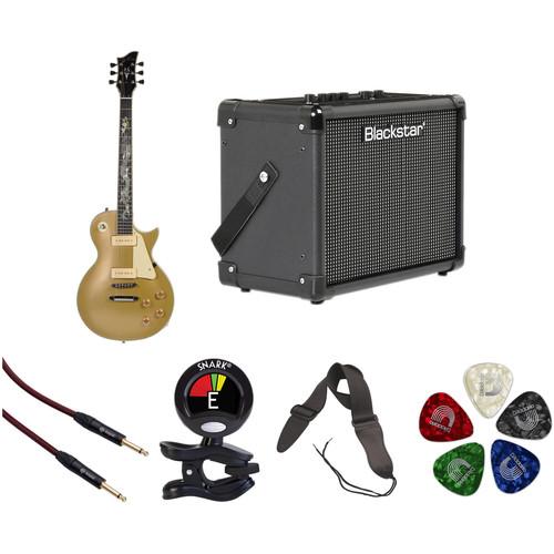 Jay Turser JT-220D Serpent 200 Series Electric Guitar & Amp Starter Kit (P-90, Gold Top)