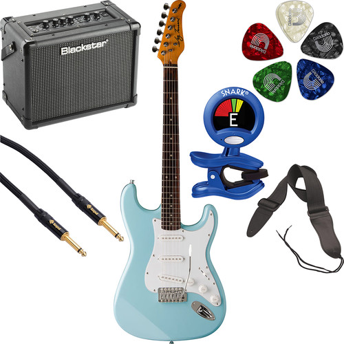 Jay Turser JT-300 300 Series Electric Guitar & Amp Starter Kit (Daphne Blue)