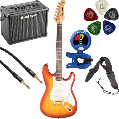 Jay Turser JT-300QMT 300 Series Electric Guitar Starter Kit (Amber)