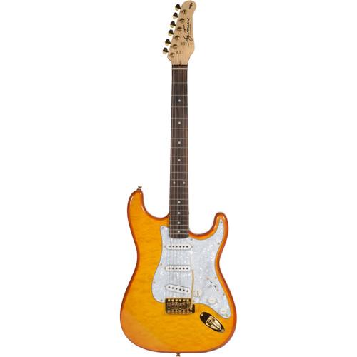 Jay Turser JT-300QMT 300-Series Electric Guitar (Amber)