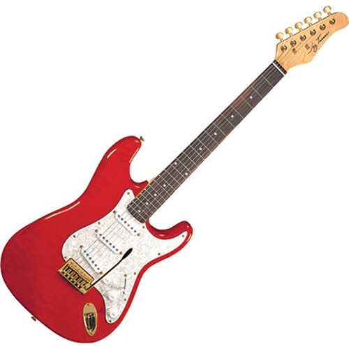 Jay Turser JT-300QMT 300-Series Electric Guitar (Transparent Red)