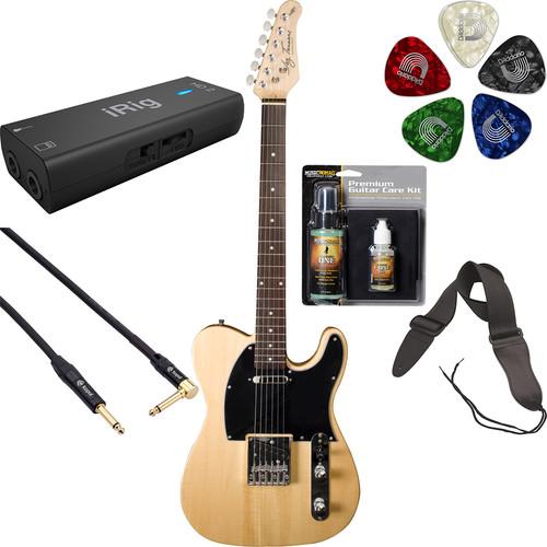 Jay Turser JT-LT- LT Series Electric Guitar Starter Recording Kit (Natural )