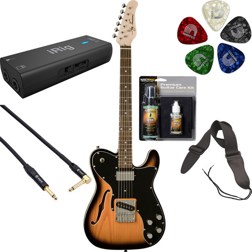 Jay Turser JT-LTCUSTOM69 LT Series Electric Guitar Starter Recording Kit (Tobacco Sunburst)