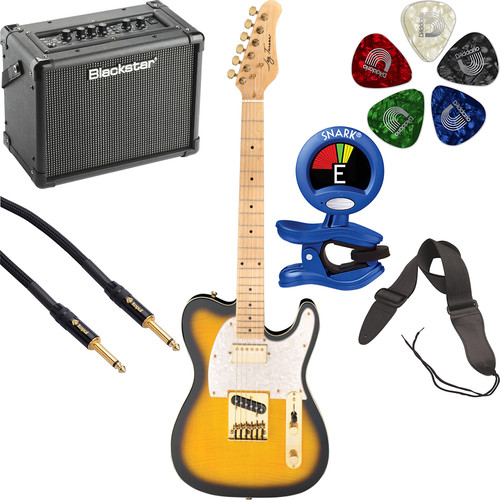 Jay Turser JT-LTCUSTOMDLX LT Series Electric Guitar Starter Kit (Antique Natural Sunburst)