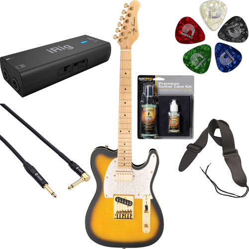 Jay Turser JT-LTCUSTOMDLX LT Series Electric Guitar Starter Recording Kit (Antique Natural Sunburst)