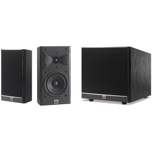 """JBL Arena 5.5"""" 2-Way Passive Bookshelf Loudspeakers and Powered Sub Kit (Black)"""