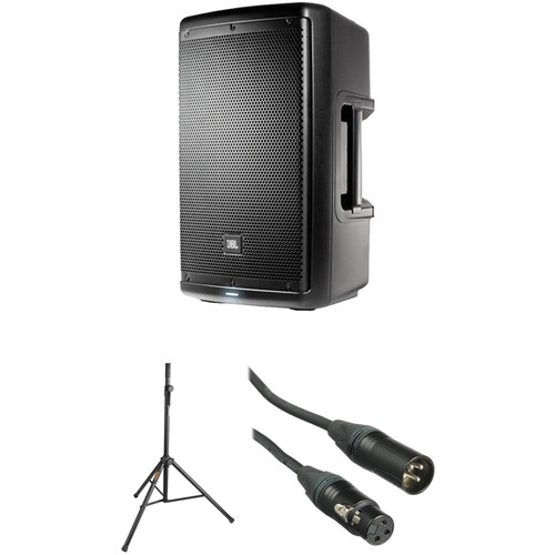 """JBL 10"""" Two-Way Powered Speaker System with Stand and Cable Kit"""