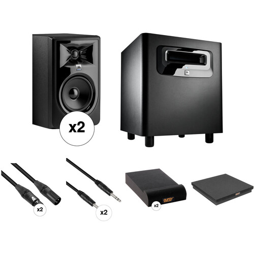 JBL 306P MkII - Studio Monitor Kit with Powered Subwoofer, Cables, and Isolation Pads
