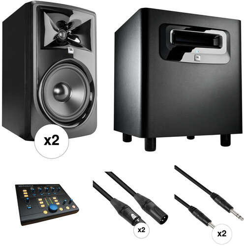 JBL 308P MkII - Studio Monitor Kit with Powered Subwoofer, Monitor Controller, and Cables