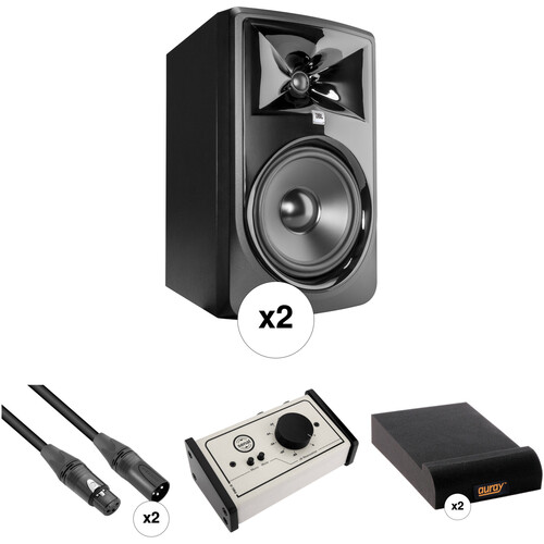 JBL 308P MkII - Studio Monitor Kit w/ Passive Monitor Controller, Speaker Pads, and Cables